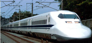 The bullet train or Shinkansen train of Japan